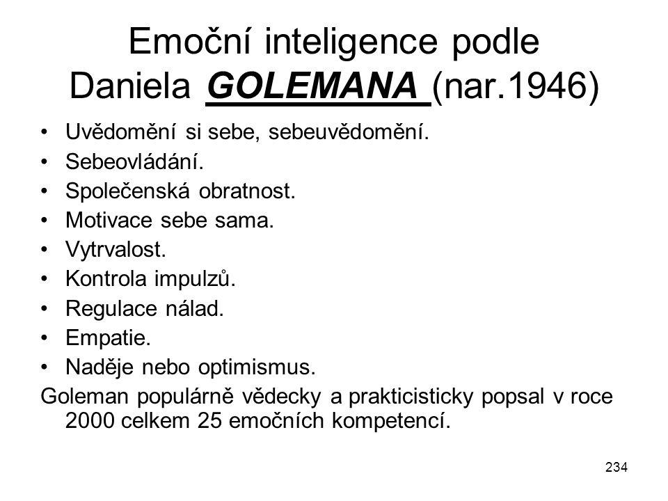 234 Emoční inteligence podle Daniela GOLEMANA (nar.1946) Uvědomění si sebe, sebeuvědomění. Sebeovládání. Společenská obratnost. Motivace sebe sama. Vy