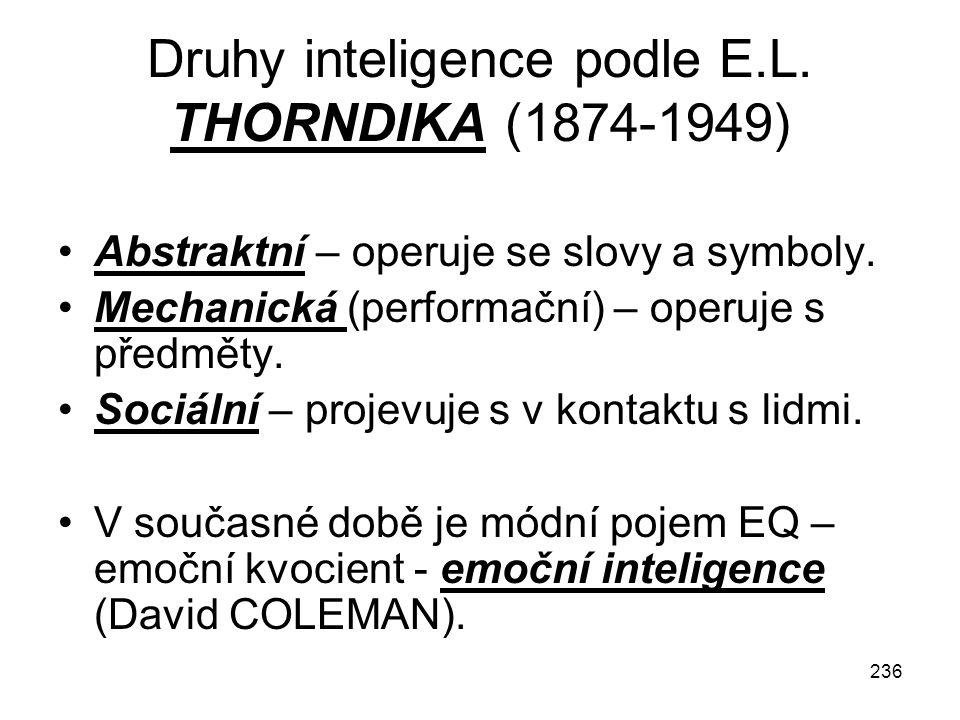 236 Druhy inteligence podle E.L. THORNDIKA (1874-1949) Abstraktní – operuje se slovy a symboly. Mechanická (performační) – operuje s předměty. Sociáln