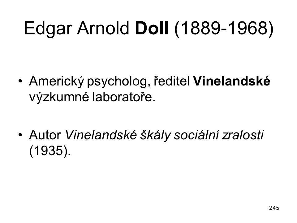 245 Edgar Arnold Doll (1889-1968) Americký psycholog, ředitel Vinelandské výzkumné laboratoře. Autor Vinelandské škály sociální zralosti (1935).