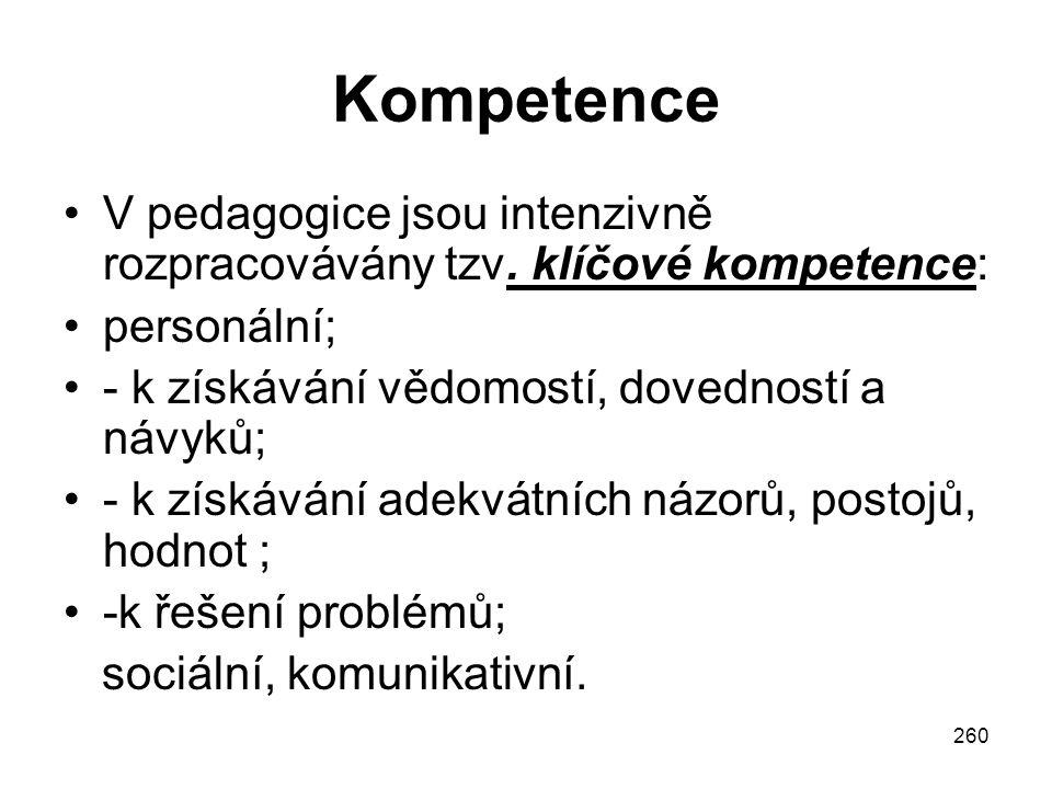 260 Kompetence V pedagogice jsou intenzivně rozpracovávány tzv. klíčové kompetence: personální; - k získávání vědomostí, dovedností a návyků; - k získ