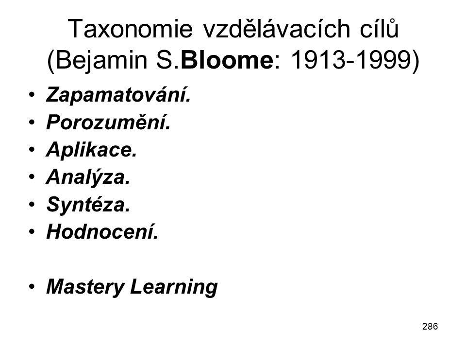 286 Taxonomie vzdělávacích cílů (Bejamin S.Bloome: 1913-1999) Zapamatování. Porozumění. Aplikace. Analýza. Syntéza. Hodnocení. Mastery Learning