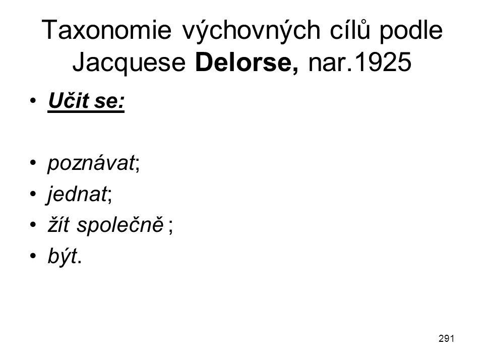 291 Taxonomie výchovných cílů podle Jacquese Delorse, nar.1925 Učit se: poznávat; jednat; žít společně ; být.