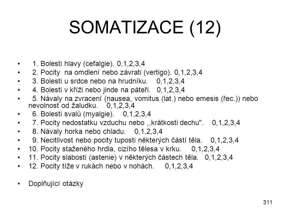 311 SOMATIZACE (12) 1. Bolesti hlavy (cefalgie). 0,1,2,3,4 2. Pocity na omdlení nebo závrati (vertigo). 0,1,2,3,4 3. Bolesti u srdce nebo na hrudníku.