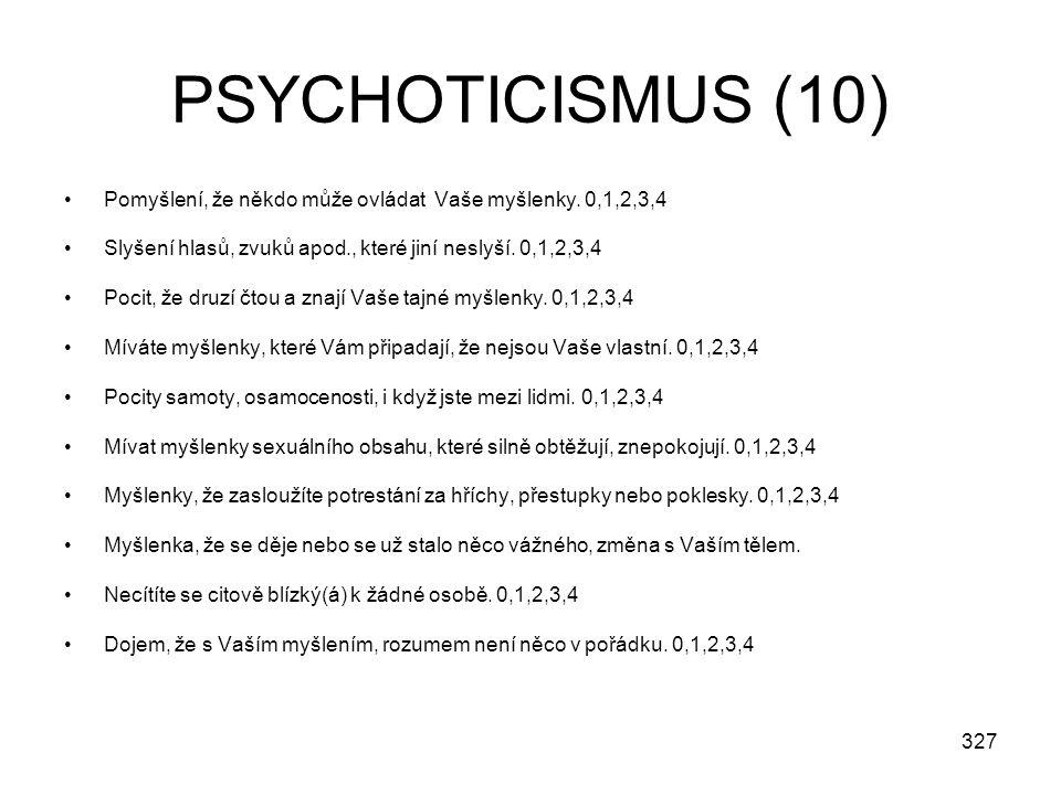 327 PSYCHOTICISMUS (10) Pomyšlení, že někdo může ovládat Vaše myšlenky. 0,1,2,3,4 Slyšení hlasů, zvuků apod., které jiní neslyší. 0,1,2,3,4 Pocit, že