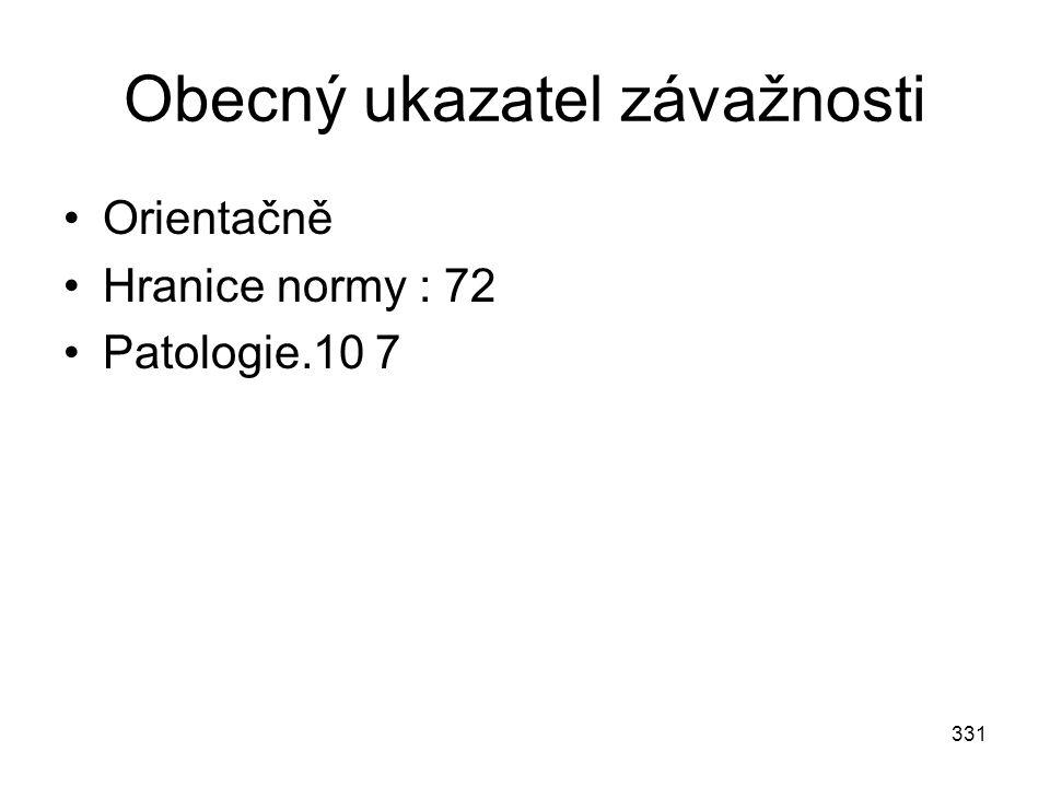 331 Obecný ukazatel závažnosti Orientačně Hranice normy : 72 Patologie.10 7