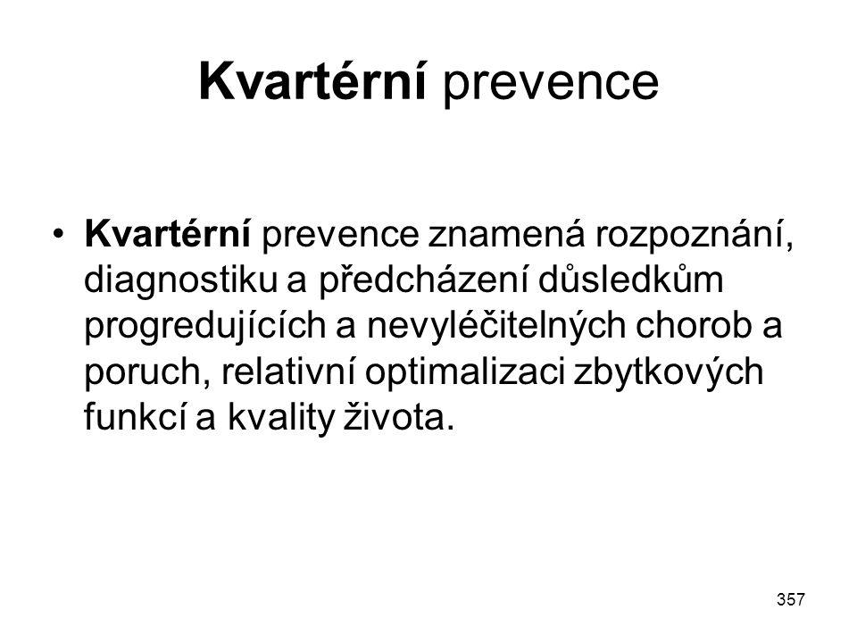 357 Kvartérní prevence Kvartérní prevence znamená rozpoznání, diagnostiku a předcházení důsledkům progredujících a nevyléčitelných chorob a poruch, re