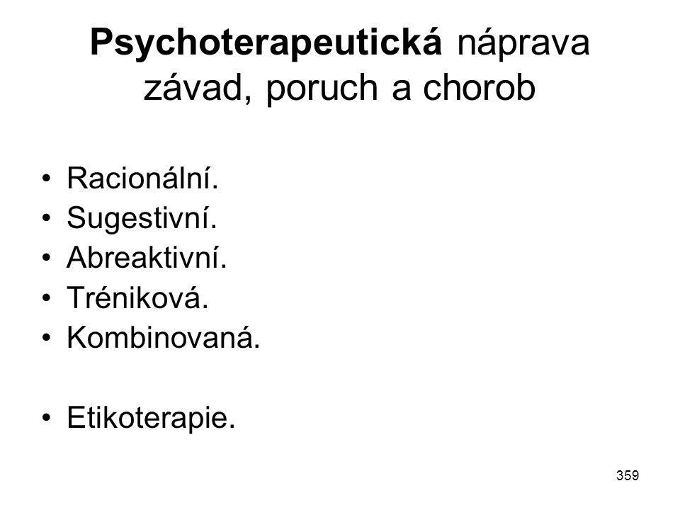 359 Psychoterapeutická náprava závad, poruch a chorob Racionální. Sugestivní. Abreaktivní. Tréniková. Kombinovaná. Etikoterapie.