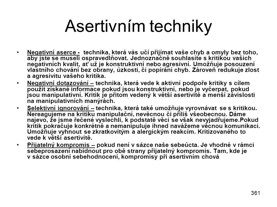 361 Asertivním techniky Negativní aserce - technika, která vás učí přijímat vaše chyb a omyly bez toho, aby jste se museli ospravedlňovat. Jednoznačně