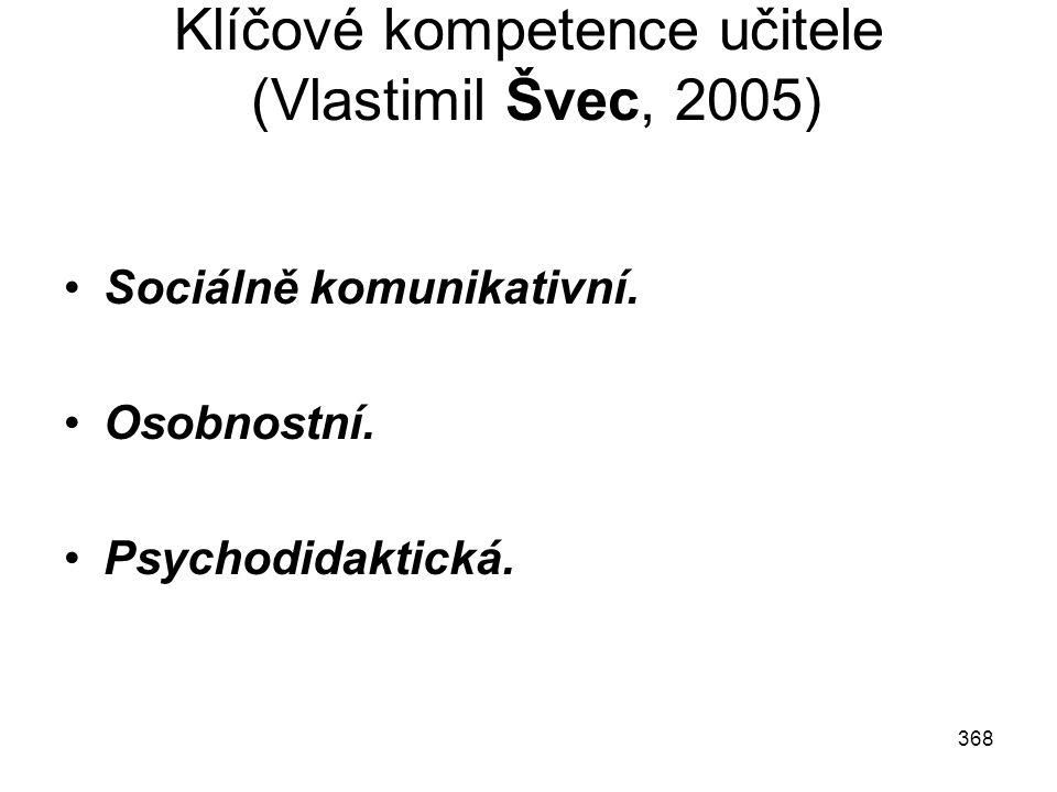 368 Klíčové kompetence učitele (Vlastimil Švec, 2005) Sociálně komunikativní. Osobnostní. Psychodidaktická.