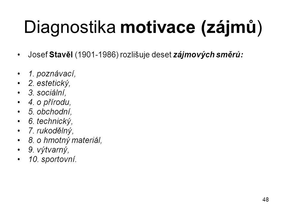 48 Diagnostika motivace (zájmů) Josef Stavěl (1901-1986) rozlišuje deset zájmových směrů: 1. poznávací, 2. estetický, 3. sociální, 4. o přírodu, 5. ob