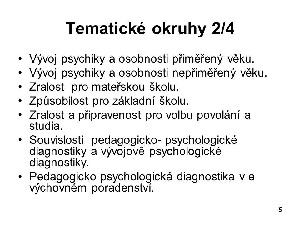 5 Tematické okruhy 2/4 Vývoj psychiky a osobnosti přiměřený věku. Vývoj psychiky a osobnosti nepřiměřený věku. Zralost pro mateřskou školu. Způsobilos