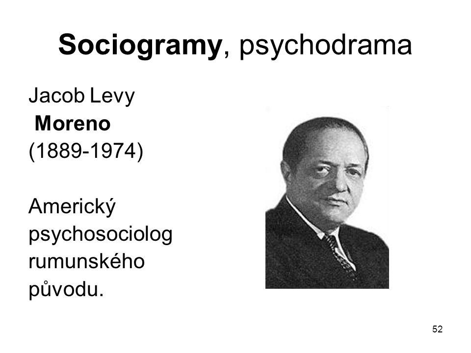 52 Sociogramy, psychodrama Jacob Levy Moreno (1889-1974) Americký psychosociolog rumunského původu.