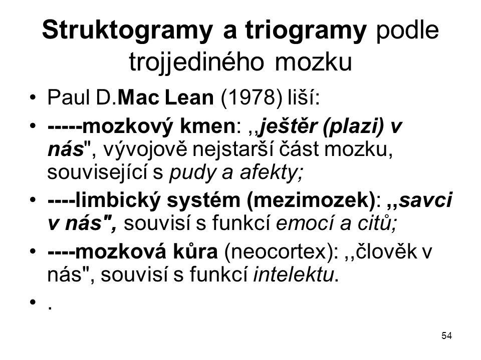54 Struktogramy a triogramy podle trojjediného mozku Paul D.Mac Lean (1978) liší: -----mozkový kmen:,,ještěr (plazi) v nás