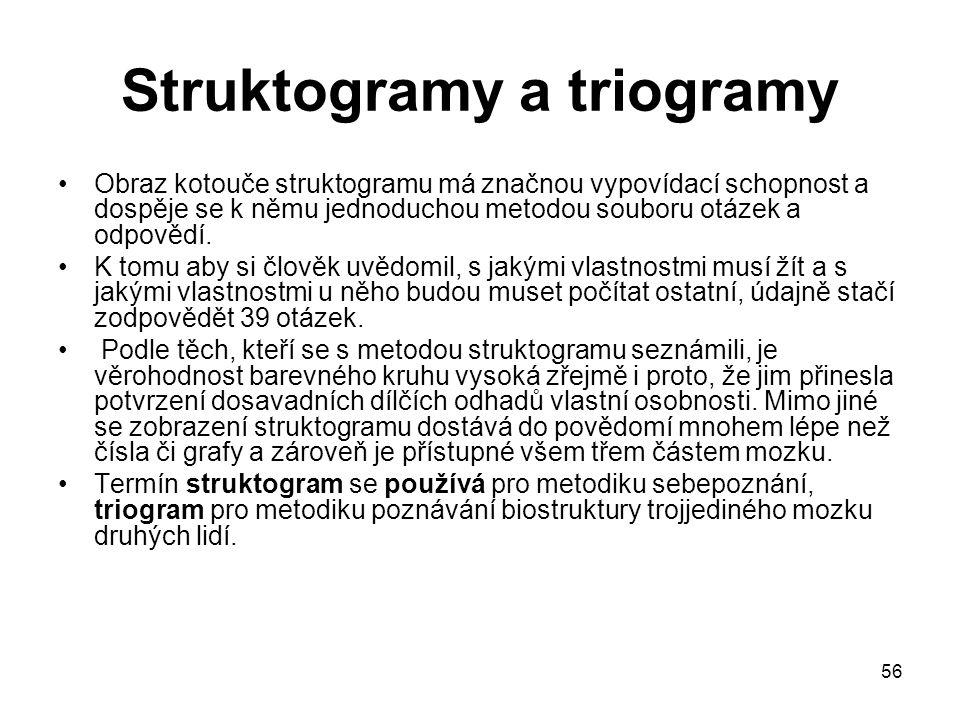 56 Struktogramy a triogramy Obraz kotouče struktogramu má značnou vypovídací schopnost a dospěje se k němu jednoduchou metodou souboru otázek a odpově