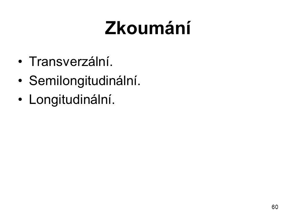 60 Zkoumání Transverzální. Semilongitudinální. Longitudinální.