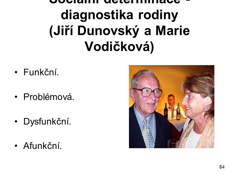 84 Sociální determinace - diagnostika rodiny (Jiří Dunovský a Marie Vodičková) Funkční. Problémová. Dysfunkční. Afunkční.