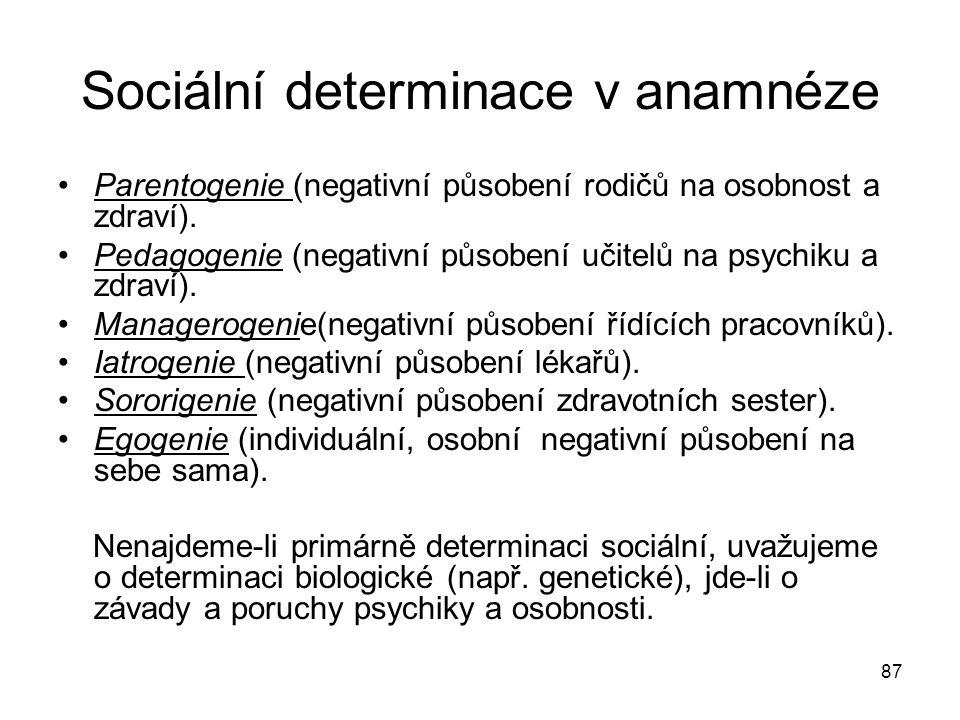 87 Sociální determinace v anamnéze Parentogenie (negativní působení rodičů na osobnost a zdraví). Pedagogenie (negativní působení učitelů na psychiku