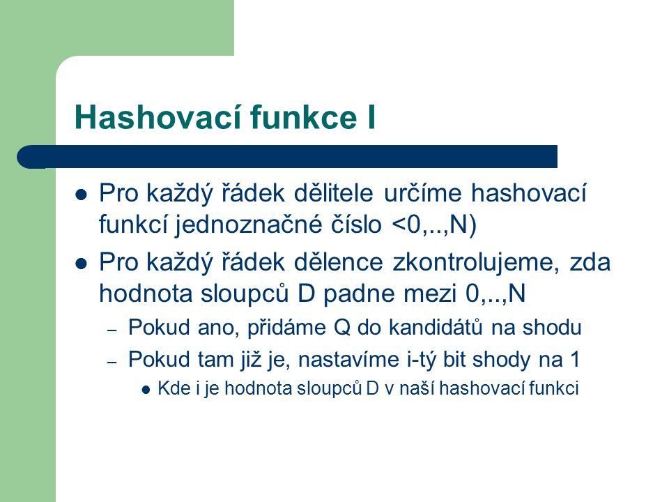 Hashovací funkce I Pro každý řádek dělitele určíme hashovací funkcí jednoznačné číslo <0,..,N) Pro každý řádek dělence zkontrolujeme, zda hodnota sloupců D padne mezi 0,..,N – Pokud ano, přidáme Q do kandidátů na shodu – Pokud tam již je, nastavíme i-tý bit shody na 1 Kde i je hodnota sloupců D v naší hashovací funkci