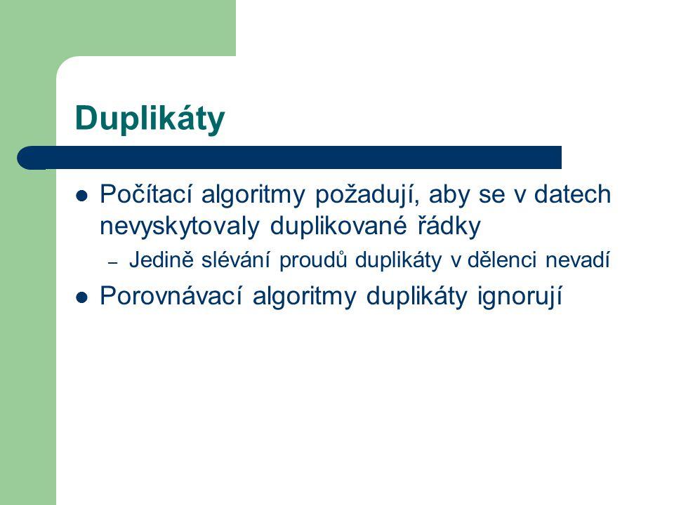 Duplikáty Počítací algoritmy požadují, aby se v datech nevyskytovaly duplikované řádky – Jedině slévání proudů duplikáty v dělenci nevadí Porovnávací algoritmy duplikáty ignorují