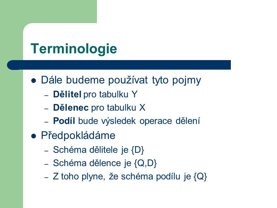 Terminologie Dále budeme používat tyto pojmy – Dělitel pro tabulku Y – Dělenec pro tabulku X – Podíl bude výsledek operace dělení Předpokládáme – Sché