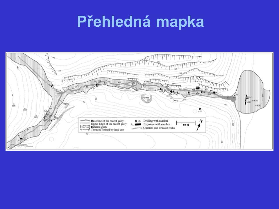 Používané metody a materiály Metody: detailní terénní studie kopané půdní sondy vrty chemické analýzy půdy datovací metody Materiály: současné mapy a dokumenty