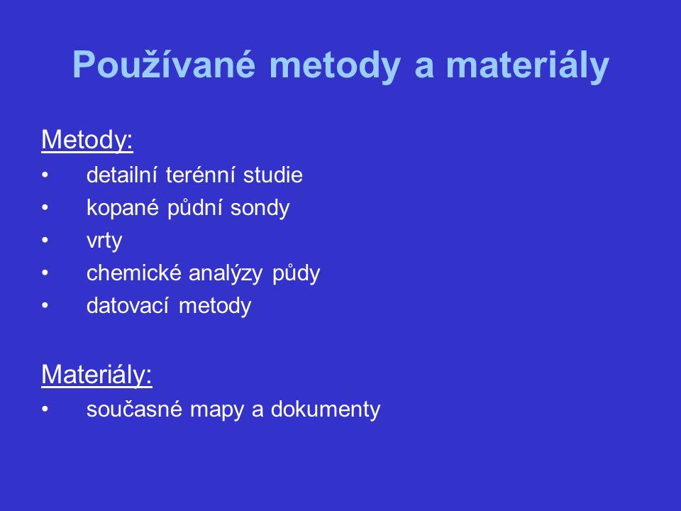 Používané metody a materiály Metody: detailní terénní studie kopané půdní sondy vrty chemické analýzy půdy datovací metody Materiály: současné mapy a