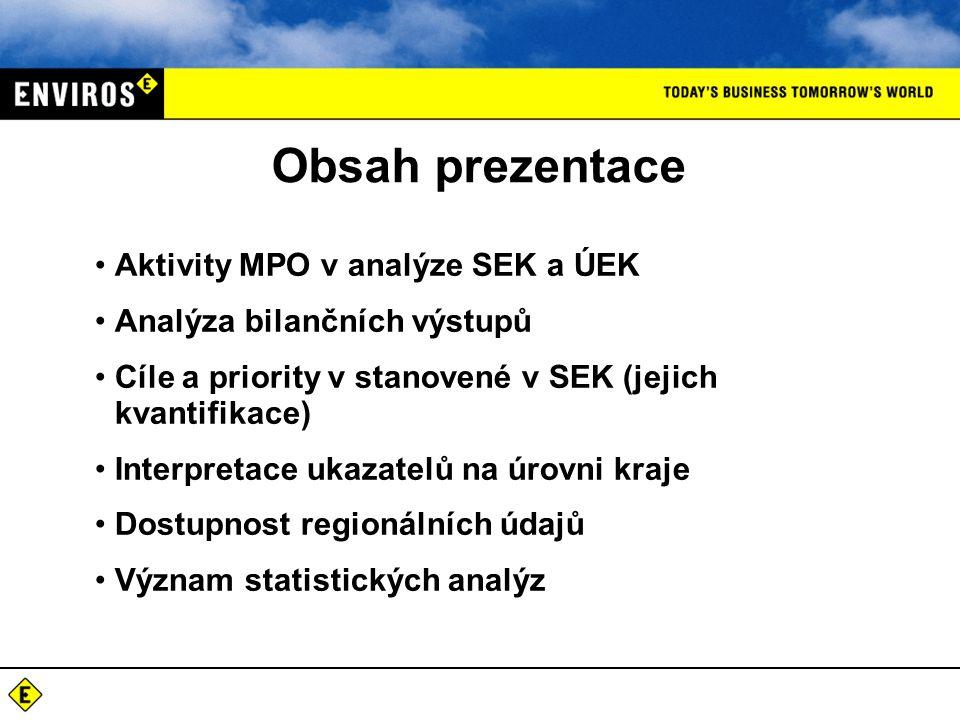 Obsah prezentace Aktivity MPO v analýze SEK a ÚEK Analýza bilančních výstupů Cíle a priority v stanovené v SEK (jejich kvantifikace) Interpretace ukazatelů na úrovni kraje Dostupnost regionálních údajů Význam statistických analýz