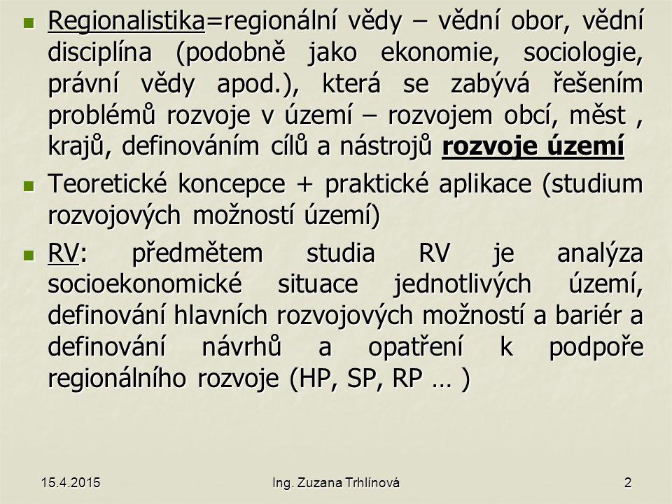 Potenciál rozvoje Geografická situace Geografická situace Historický vývoj území (dosídlené oblasti x Střední Čechy) Historický vývoj území (dosídlené oblasti x Střední Čechy) Ekonomika území (HDP, HRP, zaměstnanost, počet inovativních firem, struktura odvětví, cena nemovitostí…) Ekonomika území (HDP, HRP, zaměstnanost, počet inovativních firem, struktura odvětví, cena nemovitostí…) Demografie a migrační trendy (venkov, Severní Čechy) Demografie a migrační trendy (venkov, Severní Čechy) Lidský kapitál (vzdělání, životní postoje, identita…) Lidský kapitál (vzdělání, životní postoje, identita…) Sociální struktura a sociální sítě v území Sociální struktura a sociální sítě v území Technická, dopravní a občanská infrastruktura Technická, dopravní a občanská infrastruktura Politická stabilita Politická stabilita Vnější vztahy (partnerské sítě) Vnější vztahy (partnerské sítě) Kulturní a přírodní dědictví Kulturní a přírodní dědictví Specifická administrativní opatření (NP, UNESCO, Natura 2000 a další) Specifická administrativní opatření (NP, UNESCO, Natura 2000 a další) Image a značka území Image a značka území 15.4.2015Ing.