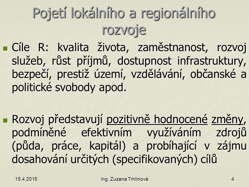 15.4.2015Ing. Zuzana Trhlínová4 Pojetí lokálního a regionálního rozvoje Cíle R: kvalita života, zaměstnanost, rozvoj služeb, růst příjmů, dostupnost i