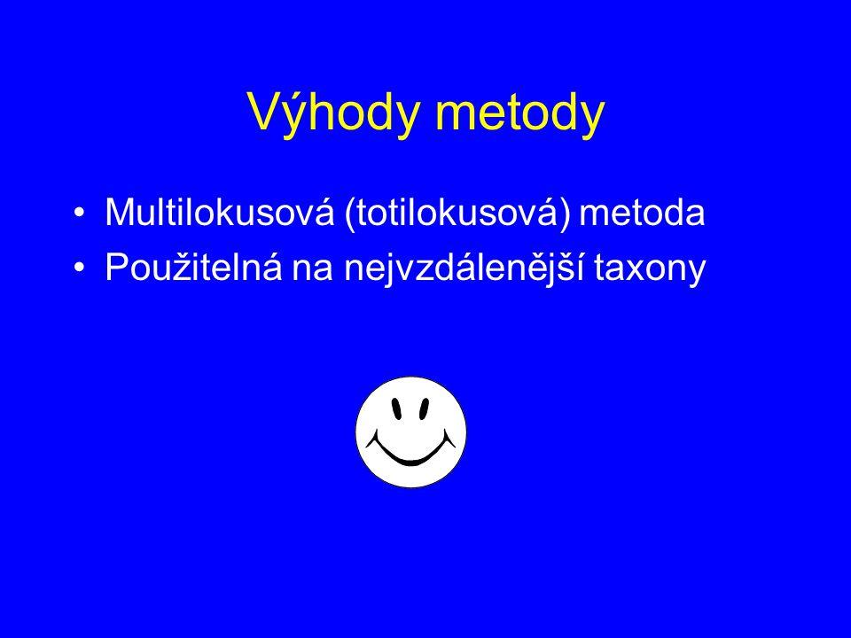 Výhody metody Multilokusová (totilokusová) metoda Použitelná na nejvzdálenější taxony