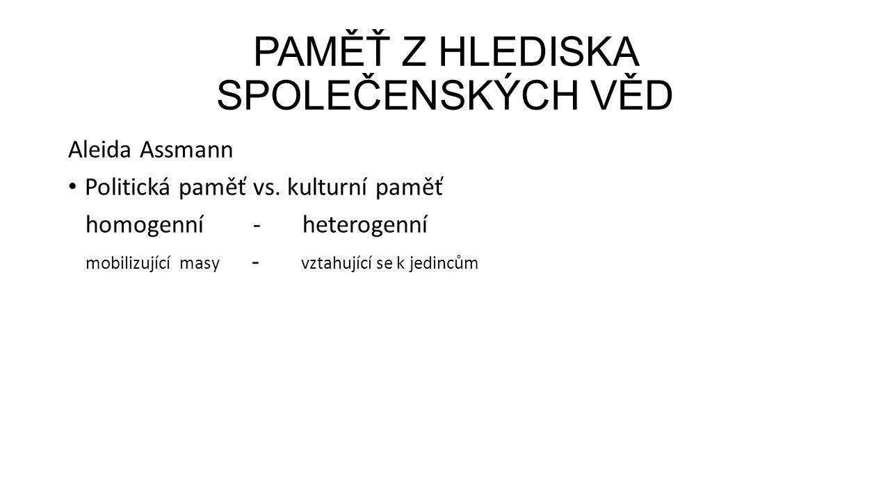 PAMĚŤ Z HLEDISKA SPOLEČENSKÝCH VĚD Aleida Assmann Politická paměť vs.