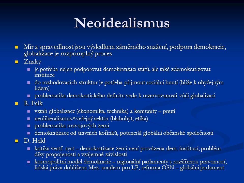 Neoidealismus Mír a spravedlnost jsou výsledkem záměrného snažení, podpora demokracie, globalizace je rozporuplný proces Mír a spravedlnost jsou výsledkem záměrného snažení, podpora demokracie, globalizace je rozporuplný proces Znaky Znaky je potřeba nejen podporovat demokratizaci států, ale také zdemokratizovat instituce je potřeba nejen podporovat demokratizaci států, ale také zdemokratizovat instituce do rozhodovacích struktur je potřeba přijmout sociální hnutí (blíže k obyčejným lidem) do rozhodovacích struktur je potřeba přijmout sociální hnutí (blíže k obyčejným lidem) problematika demokratického deficitu vede k rezervovanosti vůči globalizaci problematika demokratického deficitu vede k rezervovanosti vůči globalizaci R.