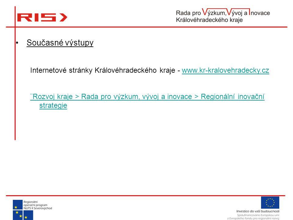 Současné výstupy Internetové stránky Královéhradeckého kraje - www.kr-kralovehradecky.czwww.kr-kralovehradecky.cz ¨Rozvoj kraje > Rada pro výzkum, vývoj a inovace > Regionální inovační strategie