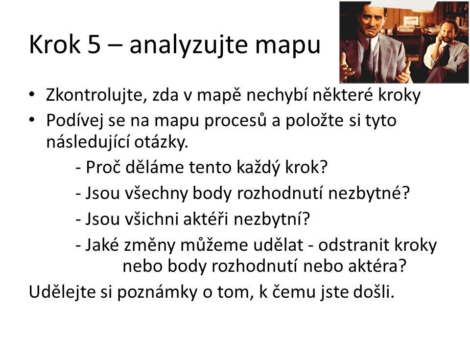 Krok 5 – analyzujte mapu Zkontrolujte, zda v mapě nechybí některé kroky Podívej se na mapu procesů a položte si tyto následující otázky. - Proč děláme