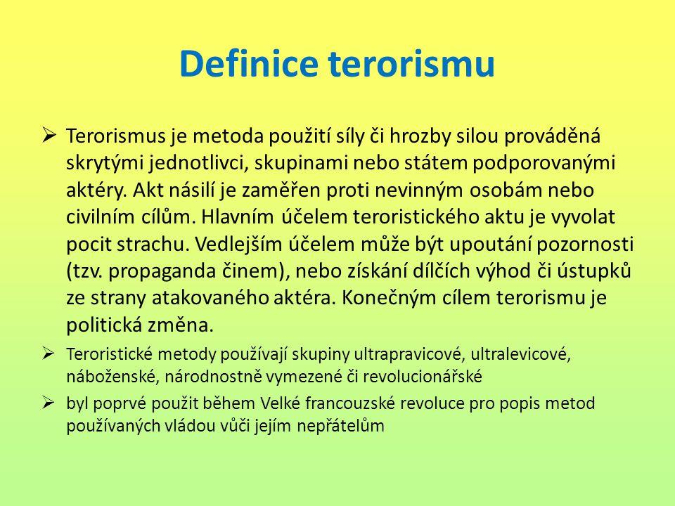 Definice terorismu  Terorismus je metoda použití síly či hrozby silou prováděná skrytými jednotlivci, skupinami nebo státem podporovanými aktéry. Akt