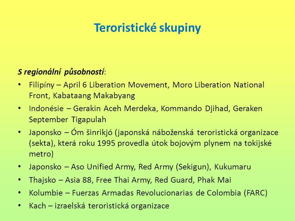 Teroristické skupiny S regionální působností: Filipíny – April 6 Liberation Movement, Moro Liberation National Front, Kabataang Makabyang Indonésie –