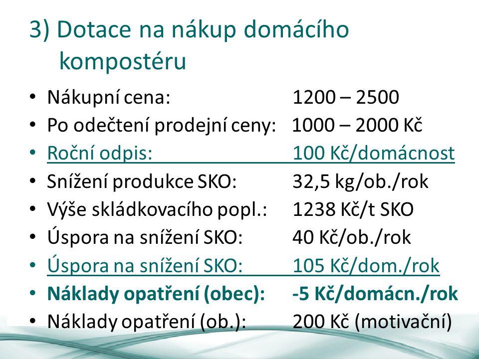 3) Dotace na nákup domácího kompostéru Nákupní cena: 1200 – 2500 Po odečtení prodejní ceny: 1000 – 2000 Kč Roční odpis: 100 Kč/domácnost Snížení produkce SKO:32,5 kg/ob./rok Výše skládkovacího popl.:1238 Kč/t SKO Úspora na snížení SKO: 40 Kč/ob./rok Úspora na snížení SKO: 105 Kč/dom./rok Náklady opatření (obec):-5 Kč/domácn./rok Náklady opatření (ob.):200 Kč (motivační)