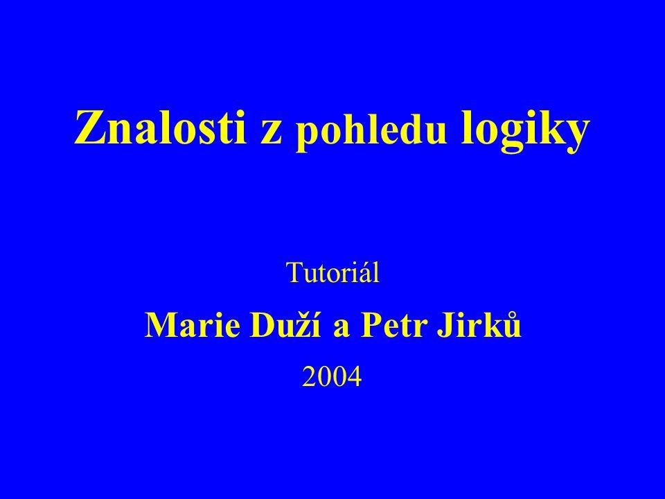 Znalosti 200412 Predikátová logika prvního řádu (extenzionální) Není dostatečně jemná, ale...