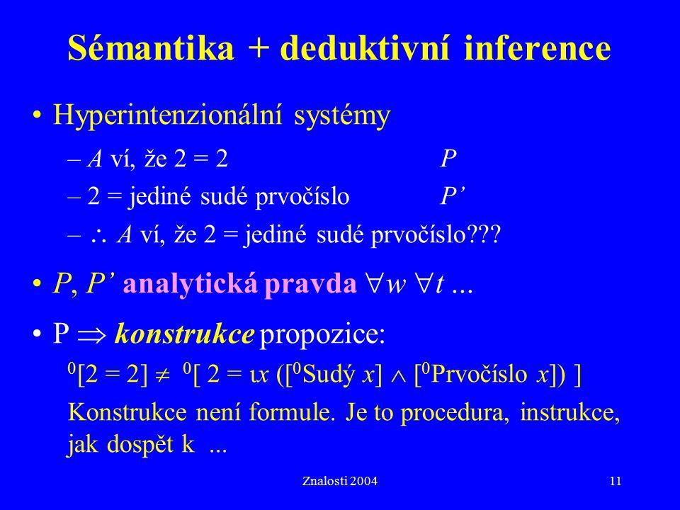 Znalosti 200411 Sémantika + deduktivní inference Hyperintenzionální systémy – A ví, že 2 = 2P – 2 = jediné sudé prvočísloP' –  A ví, že 2 = jediné su