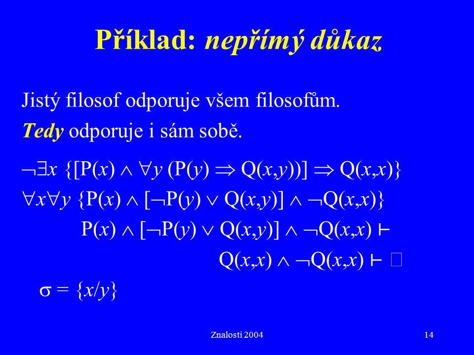 Znalosti 200414 Příklad: nepřímý důkaz Jistý filosof odporuje všem filosofům. Tedy odporuje i sám sobě.  x {[P(x)   y (P(y)  Q(x,y))]  Q(x,x)} 