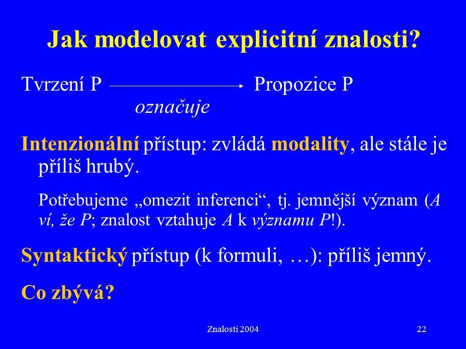 Znalosti 200422 Jak modelovat explicitní znalosti? Tvrzení PPropozice P označuje Intenzionální přístup: zvládá modality, ale stále je příliš hrubý. Po