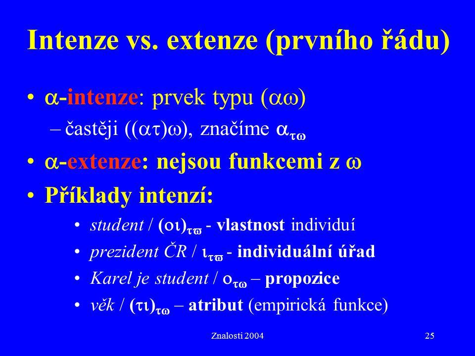 Znalosti 200425 Intenze vs. extenze (prvního řádu)  -intenze: prvek typu (  ) –častěji ((  )  ), značíme    -extenze: nejsou funkcemi z  Př