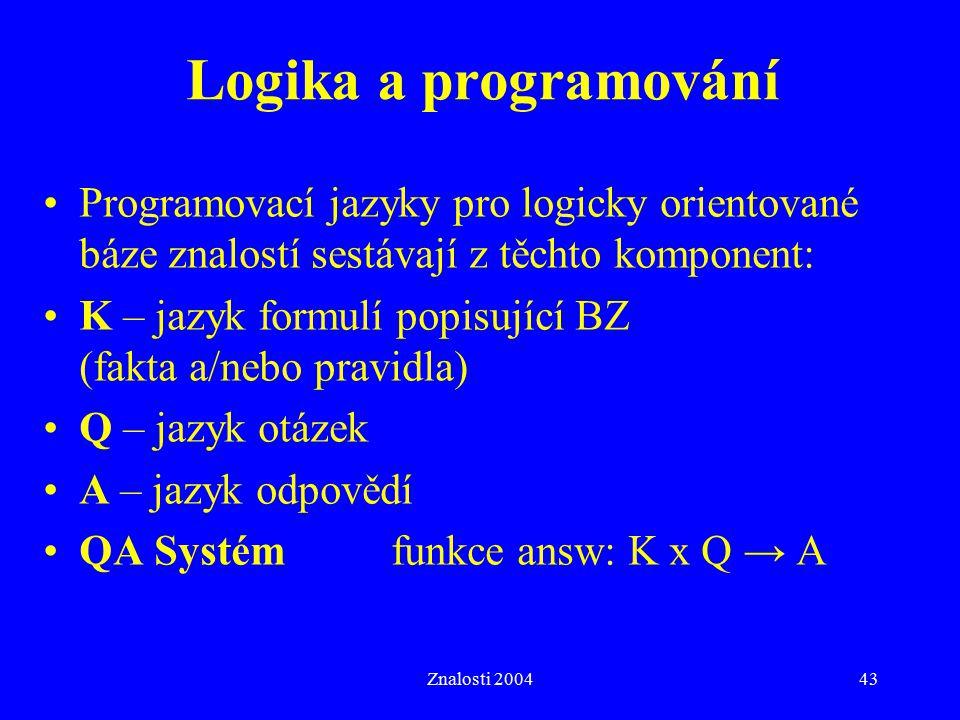 Znalosti 200443 Logika a programování Programovací jazyky pro logicky orientované báze znalostí sestávají z těchto komponent: K – jazyk formulí popisující BZ (fakta a/nebo pravidla) Q – jazyk otázek A – jazyk odpovědí QA Systém funkce answ: K x Q → A