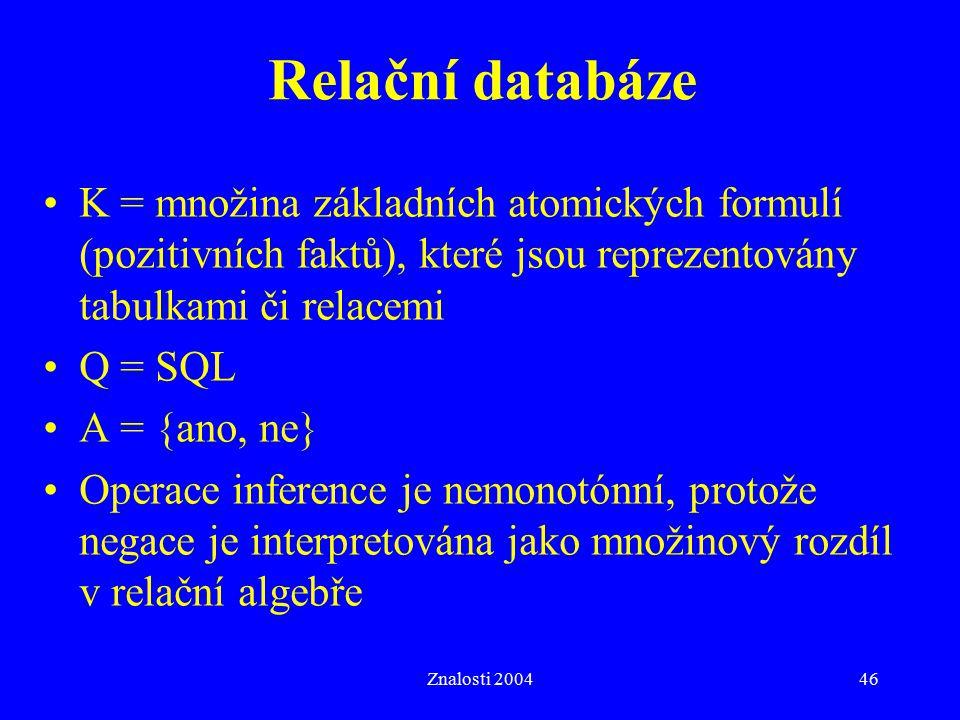 Znalosti 200446 Relační databáze K = množina základních atomických formulí (pozitivních faktů), které jsou reprezentovány tabulkami či relacemi Q = SQL A = {ano, ne} Operace inference je nemonotónní, protože negace je interpretována jako množinový rozdíl v relační algebře