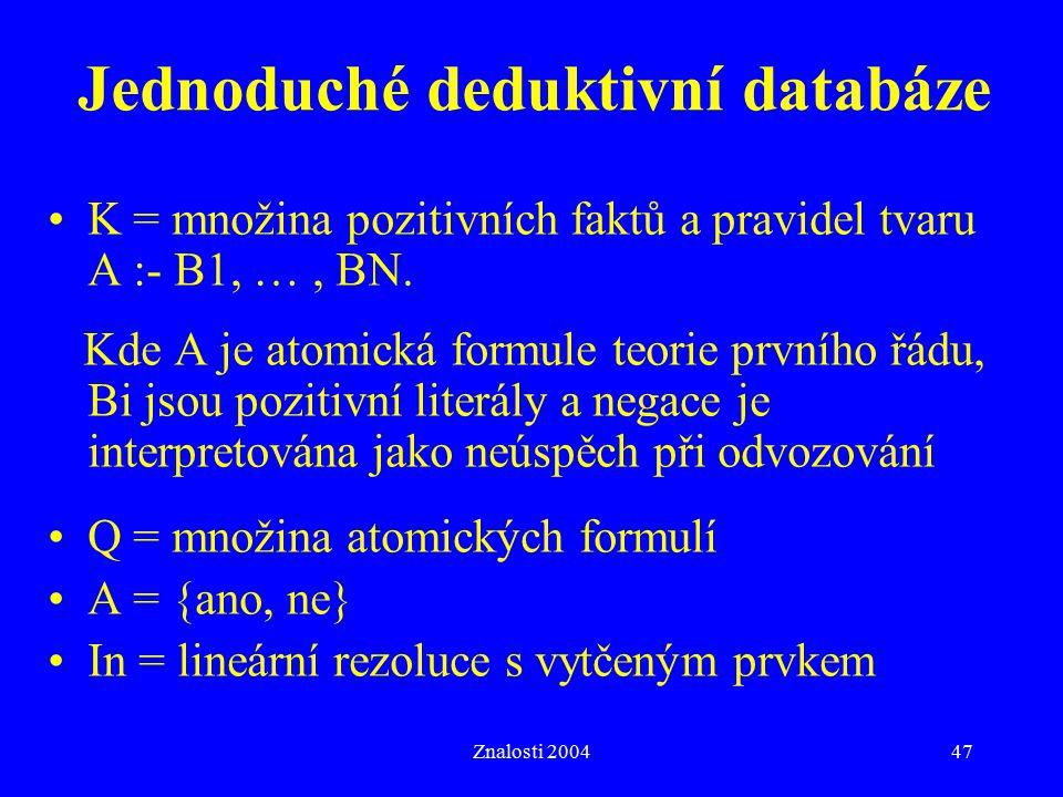 Znalosti 200447 Jednoduché deduktivní databáze K = množina pozitivních faktů a pravidel tvaru A :- B1, …, BN. Kde A je atomická formule teorie prvního