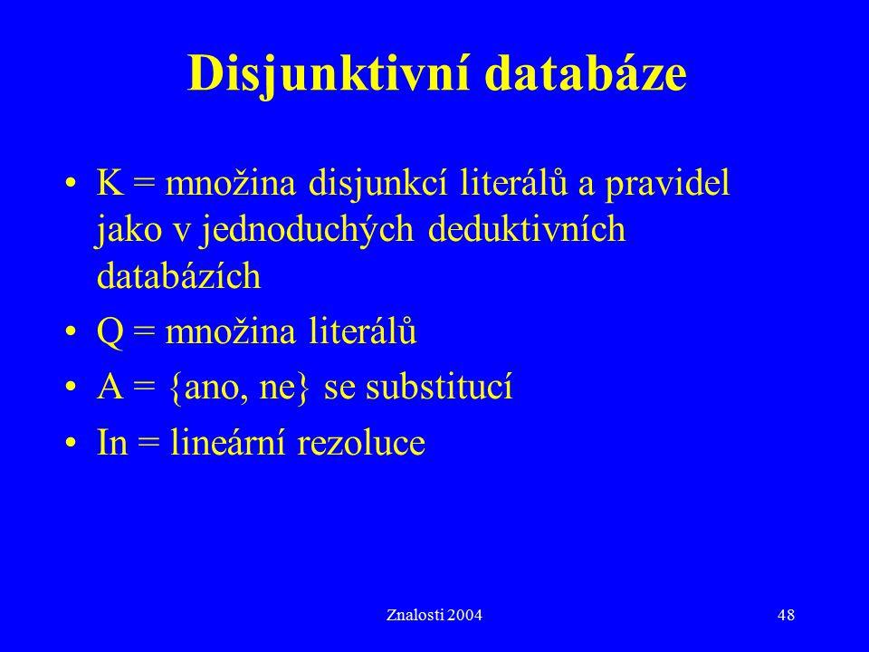 Znalosti 200448 Disjunktivní databáze K = množina disjunkcí literálů a pravidel jako v jednoduchých deduktivních databázích Q = množina literálů A = {ano, ne} se substitucí In = lineární rezoluce