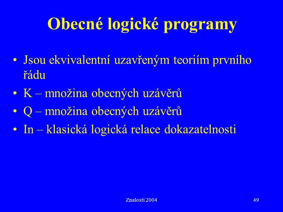 Znalosti 200449 Obecné logické programy Jsou ekvivalentní uzavřeným teoriím prvního řádu K – množina obecných uzávěrů Q – množina obecných uzávěrů In