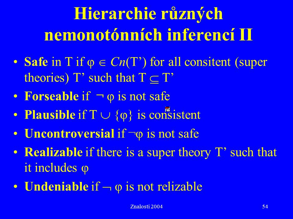Znalosti 200454 Hierarchie různých nemonotónních inferencí II Safe in T if φ  Cn(T') for all consitent (super theories) T' such that T  T' Forseable