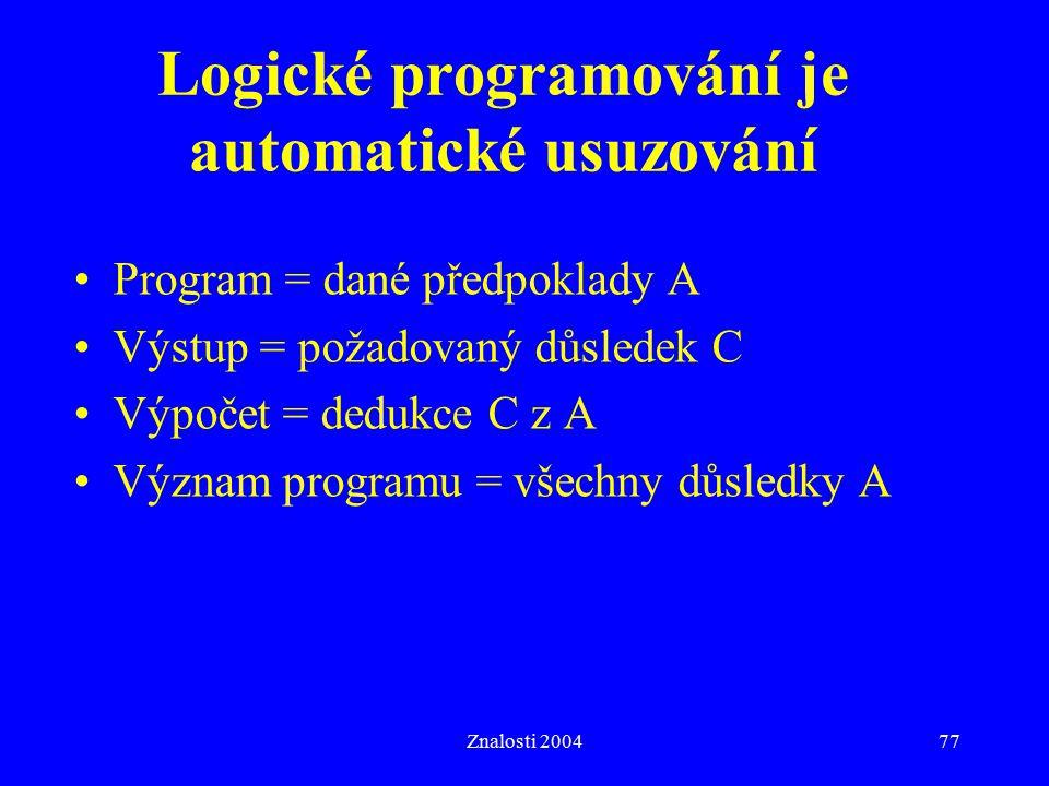 Znalosti 200477 Logické programování je automatické usuzování Program = dané předpoklady A Výstup = požadovaný důsledek C Výpočet = dedukce C z A Význam programu = všechny důsledky A
