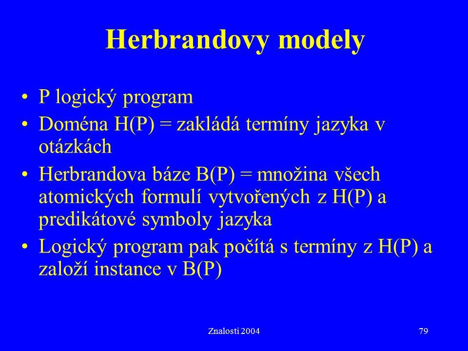 Znalosti 200479 Herbrandovy modely P logický program Doména H(P) = zakládá termíny jazyka v otázkách Herbrandova báze B(P) = množina všech atomických formulí vytvořených z H(P) a predikátové symboly jazyka Logický program pak počítá s termíny z H(P) a založí instance v B(P)